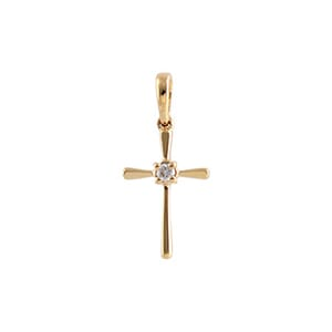 Allison Kaufman 14k Yellow Gold Diamond Cross